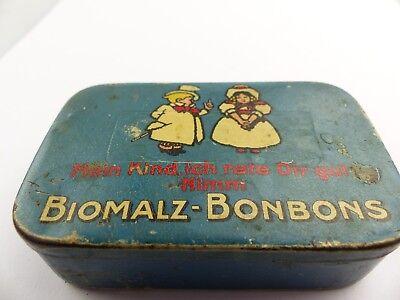 #e8275 Alte Blechdose Biomalz Bonbons mit original Werbezettel innen sehr selten 10