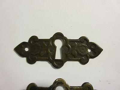 3 Antique Victorian Brass Hardware Drawer pulls Handles key escutcheon A 2