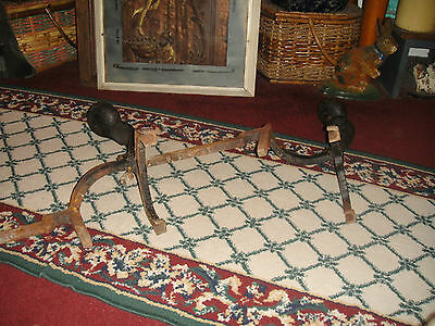 Antique Peerless Andirons-Cast Iron-3521-Resembles Rooster Running-Pair-LQQK 6
