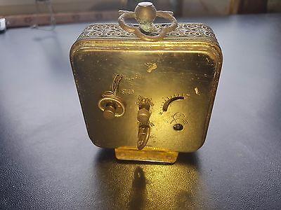 ANTIQUE  Marksman  Brass Carved Alarm Clock  West Germany 3