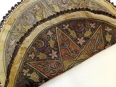 1880's ultra Antique Embroidery Ottoman Tughra Metallic Thread Turkish Tinsel 11