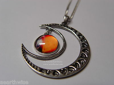 CRESCENT MOON WITH GLASS GALAXY CABOCHON PENDANT N Wicca Witch Pagan Goth 3