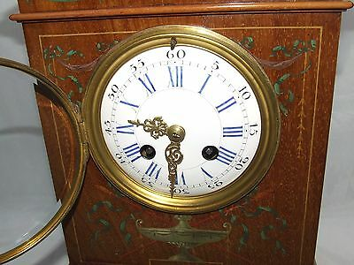 Antique French Hepplewhite Style Mahogany Mantel Bracket Clock CLEANED SERVICED 4