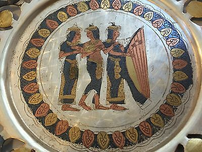 Beautiful Vintage Egyptian Egypt Cut Out Copper Wall Plaque Dish GREAT DETAIL !