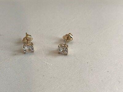 eedc09550 ... 14K Solid Yellow Gold Stud Earrings W/ .50 Ct Princess Lab Diamonds /  4Mm