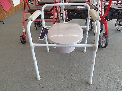 Drive Medical Folding Steel Commode RTL11158KDR Potty Chair ~Free Shipping~NEW 5