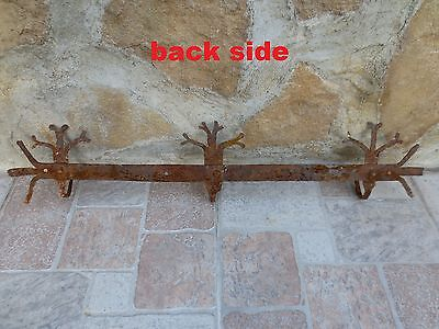 ANTIQUE 19th CENTURY Hand forged Wrough Iron Hook Hanger Old Fireplace Vintage 10