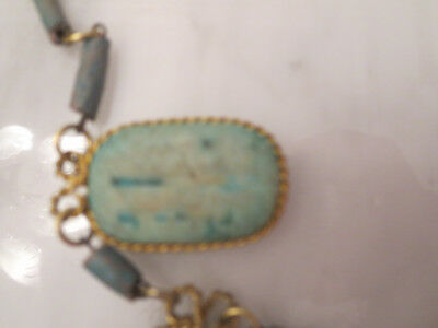 Vintage Egyptian  Faience Bead & Scarab Necklace