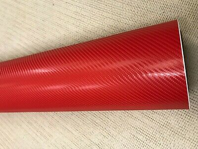 3D 4D 7 RED Carbon Fiber Vinyl Film Wrap DIY Waterproof Auto Motorcycle Car