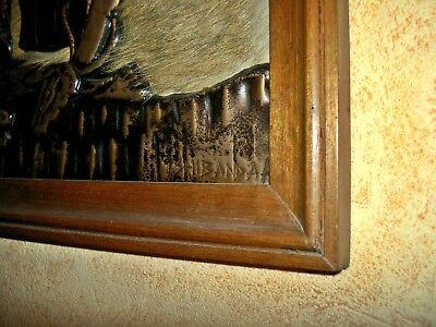 AFRICA/ART   ZAIRE  TABLEAU    CHASSEURS CUIVRE  S/ peaux ANTILOPE   42x54 cm 3