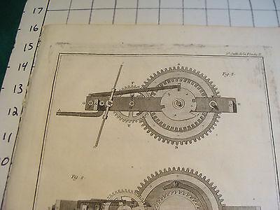 "Original engraving 1760's 10 1/2 x 16"" Horloge Horizontalle Sonnerie des Quarts 2"