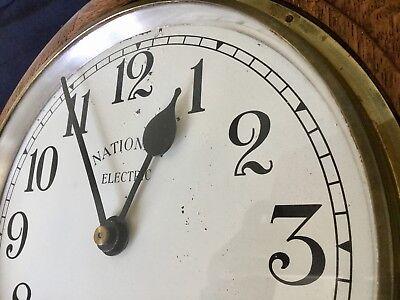 1930s Art Deco Oak Industrial Large Office Wall Clock, Working 4