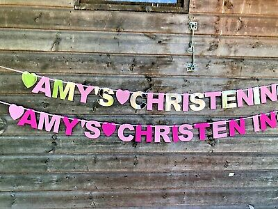 Personalised Christening baptism confirmation Naming Day Banner bunting Kraft 4