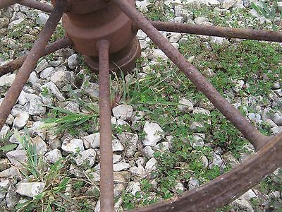 "Vintage Rustic Iron Farm Implement Wheel Farm decor 28"" diameter 3"" thick 4"
