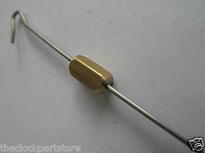 Pendulum for silk suspension clock with wire hook and brass bob & block. NEW 3