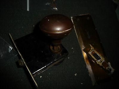#56D antique vtg  metal door knob with back plates & lock 6