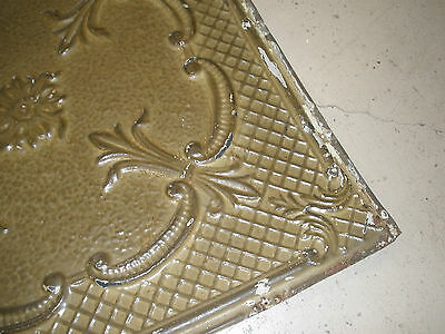 Antique Ceiling Tin-Tile-Vintage-Primitive-Late 1800's-2x2 ft-Old Architectural 3