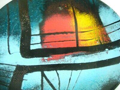 "Mid Century MODERN ART WALL PLAQUE PLATE Enamel METAL 12"" AQUA BLUE RED BLACK 2"