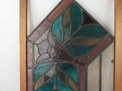 Pair of Antique Vintage Stained Glass Hanging Windows (1365)NJ