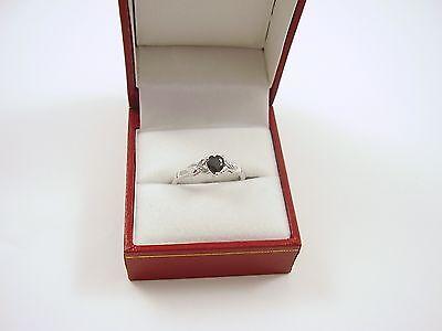 9CT WHITE GOLD SMALL SAPPHIRE /& DIAMOND ENGAGEMENT RING SIZE HIJKQRST