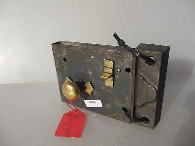 Victorian Iron Door Lock Antique Brass Bolt Handle Knob Old Bathroom? Georgian 3