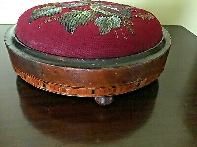 Antique Beadwork Tapestry Wooden Foot Stool 3