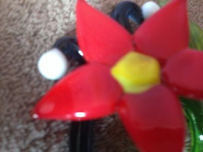 Poinsettia - Flame-worked Glass Flower Suncatcher or Small Paperweight/Ornament 5