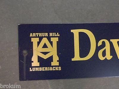 """Vintage ARTHUR HILL / DAVENPORT av STREET SIGN 42"""" X 9"""" GOLD LETTERING ON BLUE"""