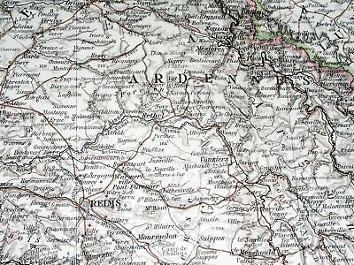 1896 Antique Original Map Of Northern France Luxembourg Lorraine Alsace Picardy 4