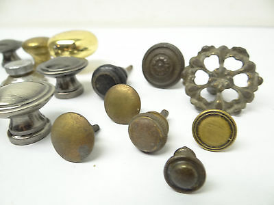 Antique & Vintage Used Old Mystery Metal Brass Drawer Pulls Hardware Round Knobs 5