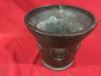 Huge Rare Antique European Bronze Mortar & Pestle Royal Aristrocatic Vase? King 8