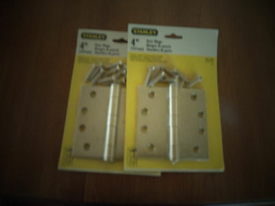 """New Vintage 4"""" Stanley H.d. Hinges,2 Pieces ,brass Plated 2"""