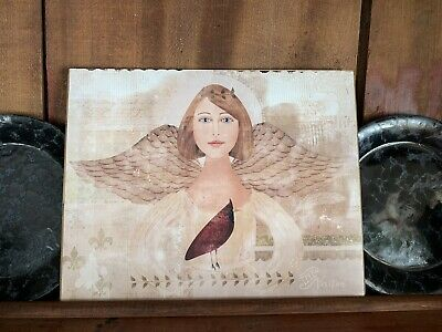 Folk Art Primitive Angel With Cardinal- The Visitor On 8x10 Canvas Board 3