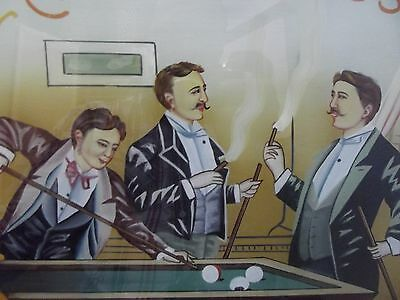 (Y86) Bild Reklame Club Friends Cigars Hinterglasmalerei 1886 New York -selten-