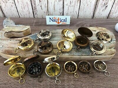 Antique Finish Brass Compass With Lid -Old Vintage Pocket Style -Nautical Marine 5