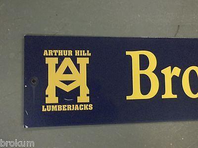 """Vintage ARTHUR HILL / BROCKWAY ST STREET SIGN 42"""" X 9"""" GOLD LETTERING ON BLUE 2"""