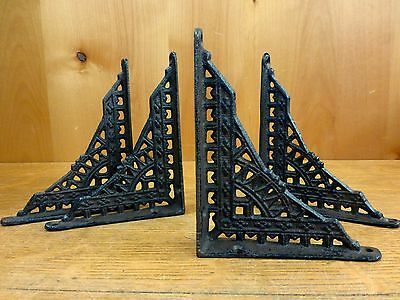 "4 SMALL BROWN ANTIQUE-STYLE 5"" CAST IRON SHELF BRACKETS garden rustic EASTLAKE 2"