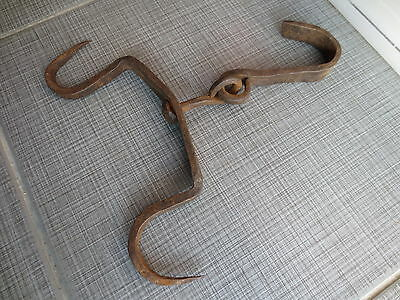 ANTIQUE 19th CENTURY Hand Forged Wrough Iron Hook Hanger Old Fireplace Vintage 7 • CAD $25.07