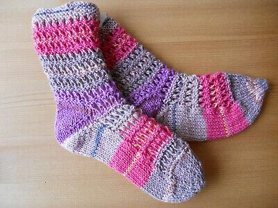 handmade  Handarbeit Strümpfe Socken Größe 21 pink lila beige Ajourmuster 2
