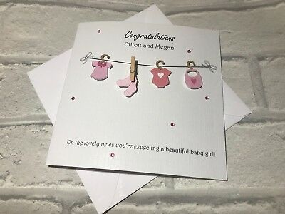 Gorgeous Personalised /'congratulations your expecting a baby girl card
