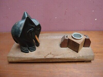 Antique Art Deco Oak Pen Tray/Rest With Ebonised Elephant And Glass Inkwell 6