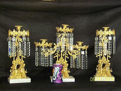 c1850's 3pc Set Girandole Majestic Candelabras Phili.-N.Y. w/Crystal Gold Gilded 3