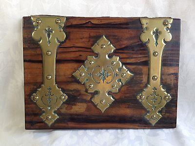 Victorian Coromandel Wood Brass Domed Stationery Box & Blotter Letter Writing