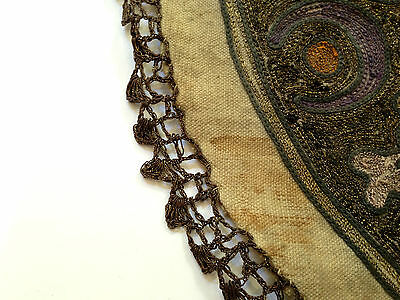 1880's ultra Antique Embroidery Ottoman Tughra Metallic Thread Turkish Tinsel 6 • CAD $347.83