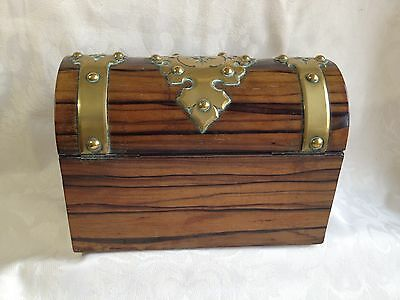 Victorian Coromandel Wood Brass Domed Stationery Box & Blotter Letter Writing 4