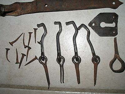 RUSTIC Hand Forged Wrought Iron Strap Hinges, Hooks, Nails