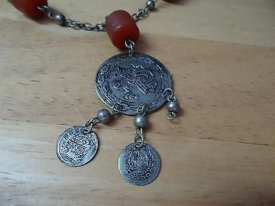 Antique Silver ? Coins Folklore  Necklace 19th C. Ottoman & old amber Bedouin 2