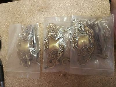 "Set of 3 Matching Ornate DRESSER DRAWER PULLs w/ Bales All BRASS  3"" holes 2"