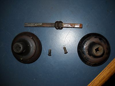 """Vintage Antique Reclaimed Black Door Knob 2 25"""" Handles & Spindle 1/4"""" Stem 4"""