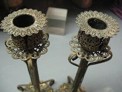 Vintage   Arabesque  Candlesticks    Filigree  Ornate  Hand Made Artisan Craft 8